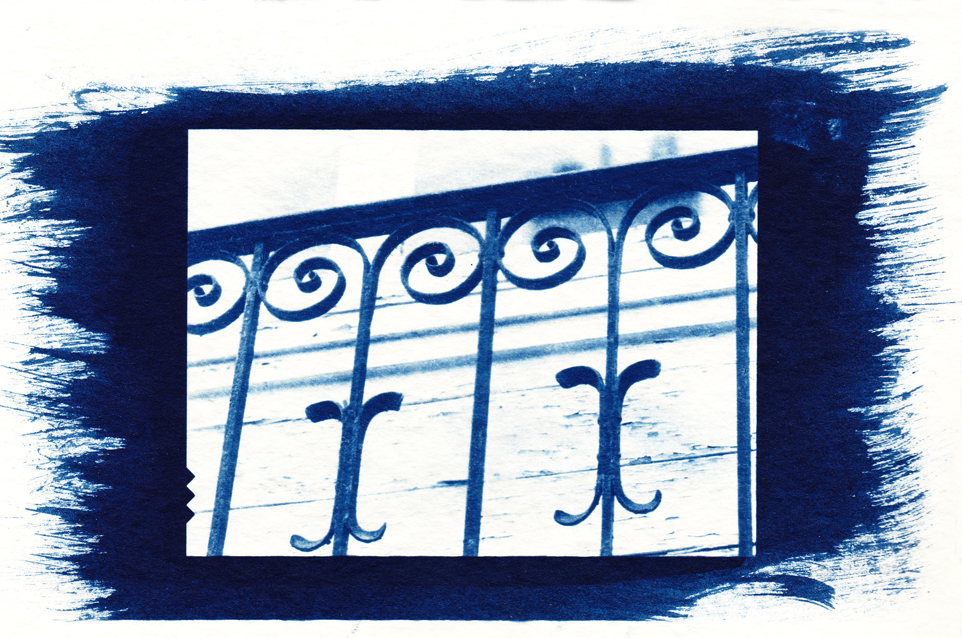 Cyanotype on paper image of a metal fence
