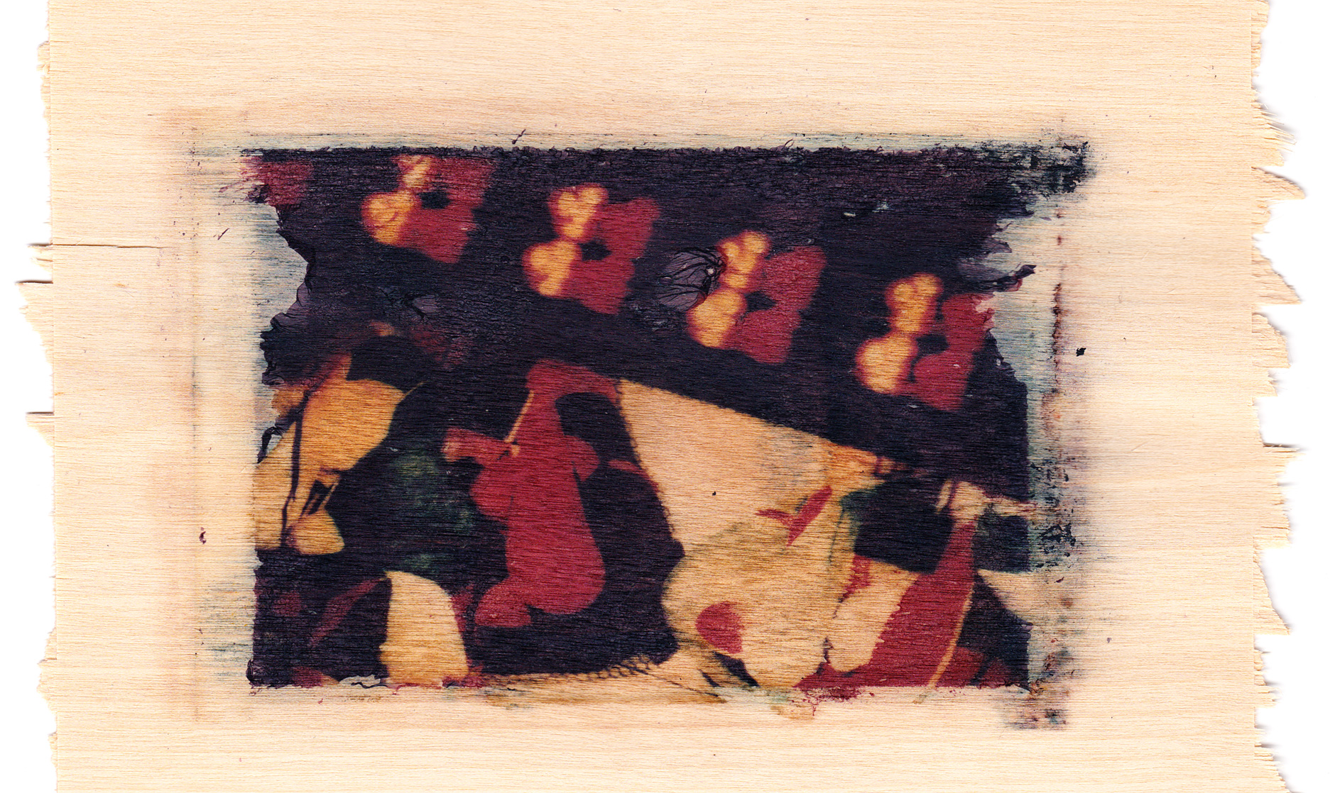 Polaroid transfer on birch wood of teddy bears in a carnival stand
