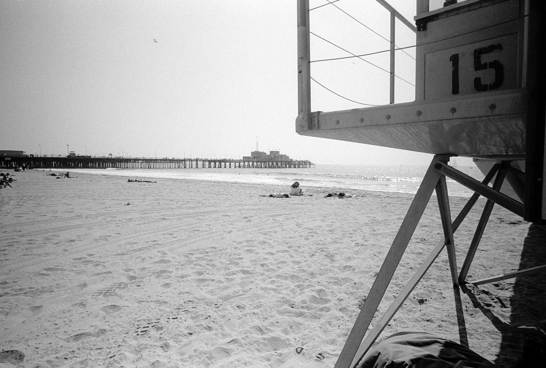 black and white image of santa monica beach