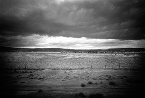 Photo taken through the train window in USA black and white landscape