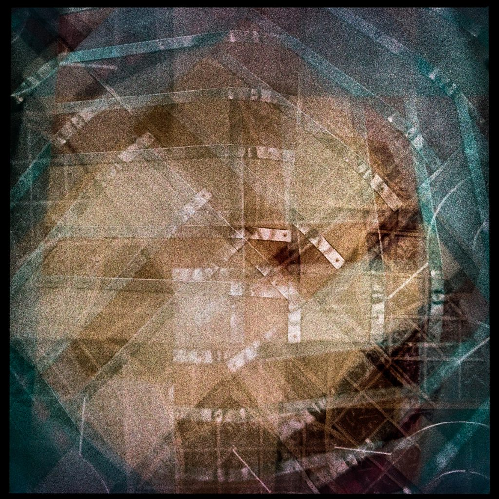 6x6 multi exposure cubism abstract image in color