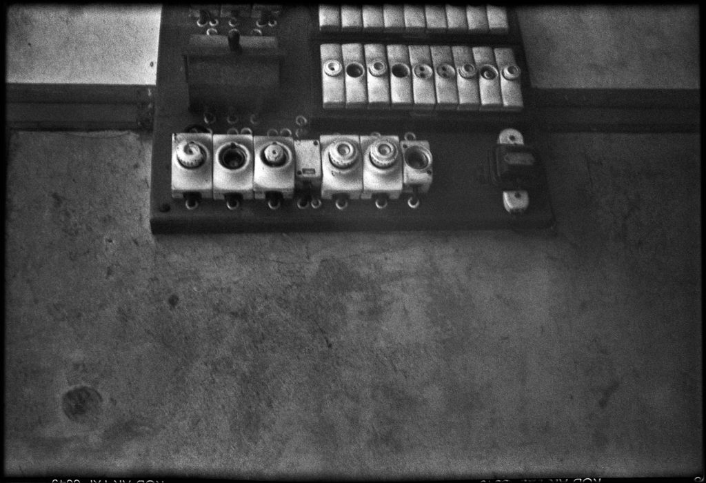 Black and White image of a fuse box