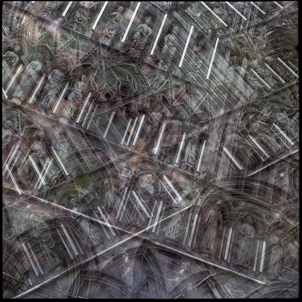 Multiple exposure image with the Nidaros Cathedral's architecture