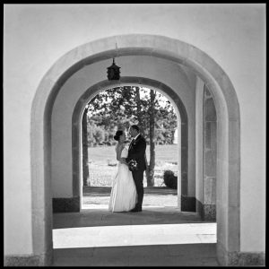 black and white wedding picture outside Wedding Norrköping, Sweden