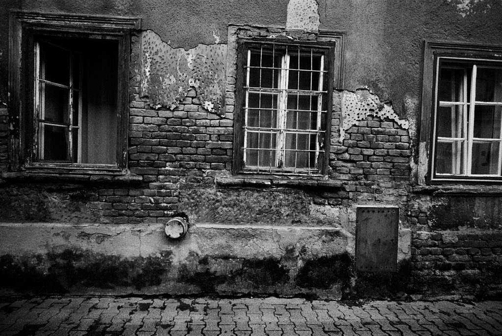 Black and white image from street in Zagreb, Croatia