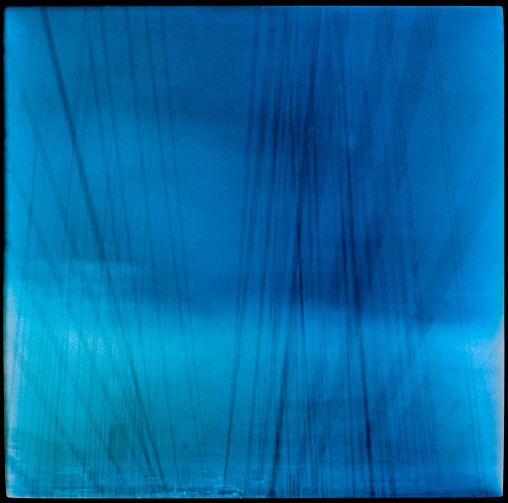 Blue multiple exposure images In transit Denmark