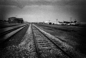 Black and white image of a train a train ride in the USA